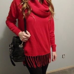 Michael Kors red fringe sweater